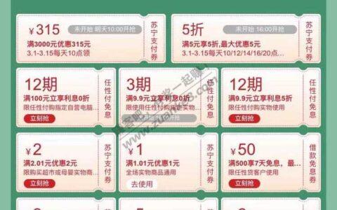 苏宁-2还款券 还有其它小券