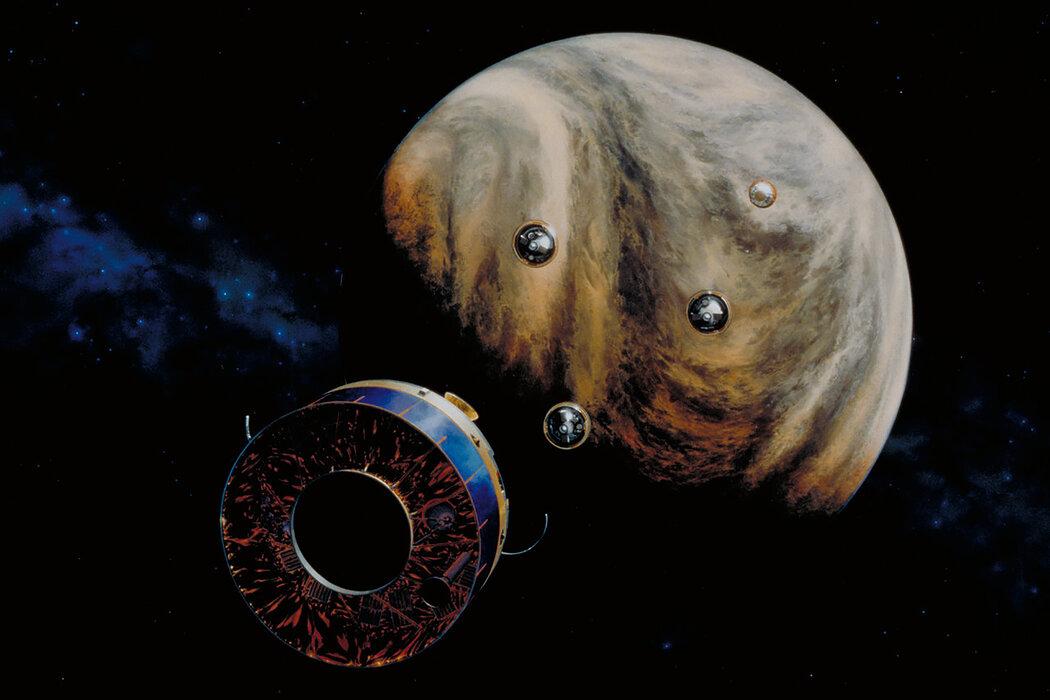"""这是NASA""""先锋计划""""里金星2号探测器和四个大气探测器的艺术效果图,用于1978年的一次任务,目的是更多地了解金星大气层。"""