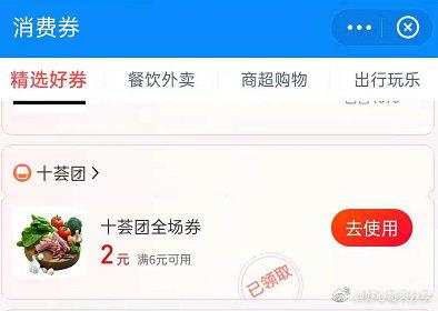 支付宝app搜【消费券】下拉有领十荟团6-2券