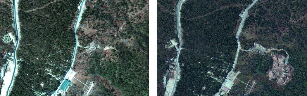 去年12月拍摄(左)和10月拍摄的卫星图像显示了修建在靠近不丹的中国领土上的军事掩体。