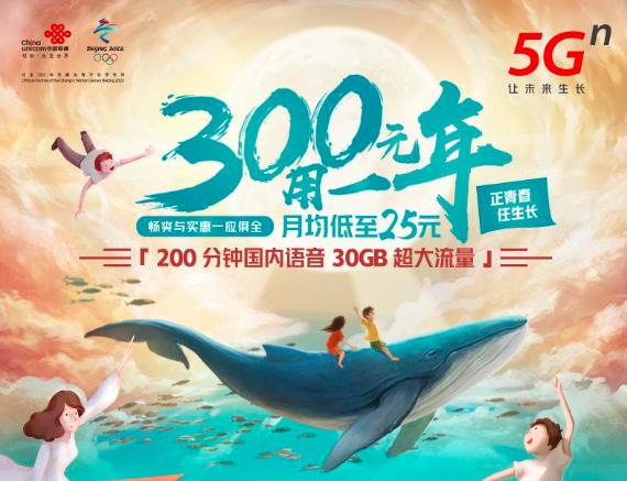 2020北京联通校园卡300元一年,每月200分钟语音+30G流量