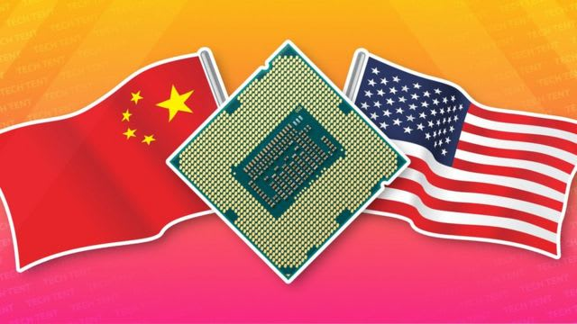 A computer chip beside the China and US flags