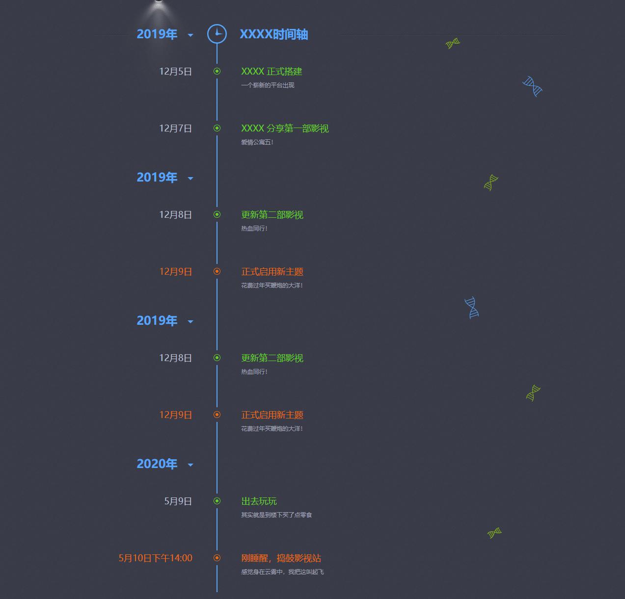 网站发展史记录页面源码