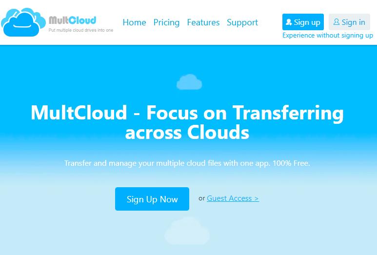 MultCloud:跨网盘传输文件在线服务,支持百度网盘!