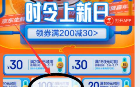 京东打开链接领199-100元吃货券,一排券左滑最后能