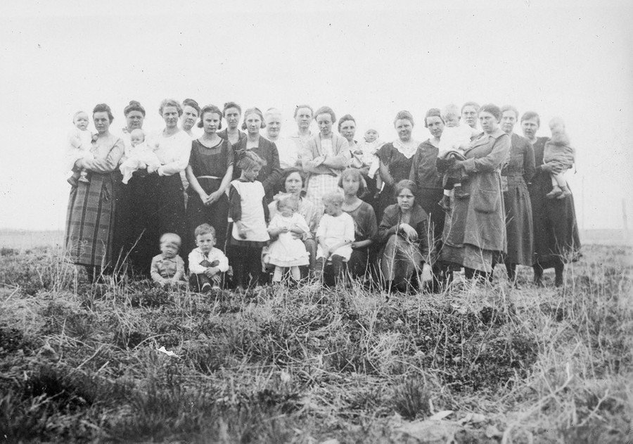 A group portrait of a class in home hygiene and care of the sick, taken in New Sweden, in Bonneville County, Idaho, in July of 1921.