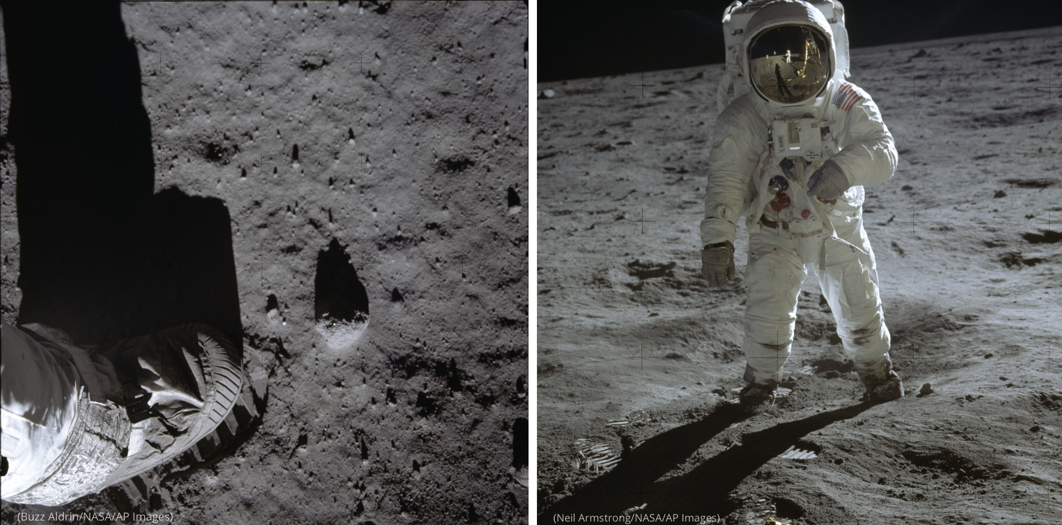 Photo of foot on surface of moon (Buzz Aldrin/NASA/AP Images) next to photo of spacesuited man on surface of moon (Neil Armstrong/NASA/AP Images)