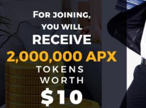 ApeiroX空投2,000,000 个 APX代币(约 10 美元),推荐1人500,000 个 APX代币奖励