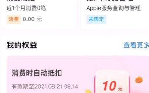 """支付宝app搜""""apple专区""""下方我的权益 试试手气"""