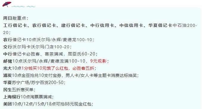 7月18日周日,浦发金豆抢兑10支付宝券、光大五折必胜客券等!