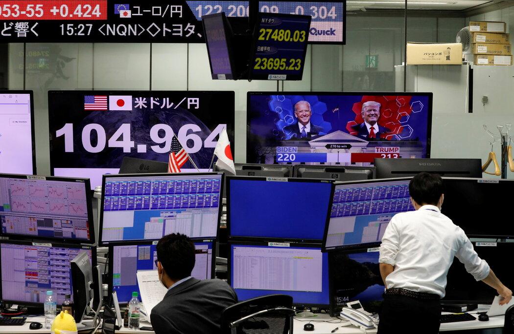 东京一家外汇交易所。
