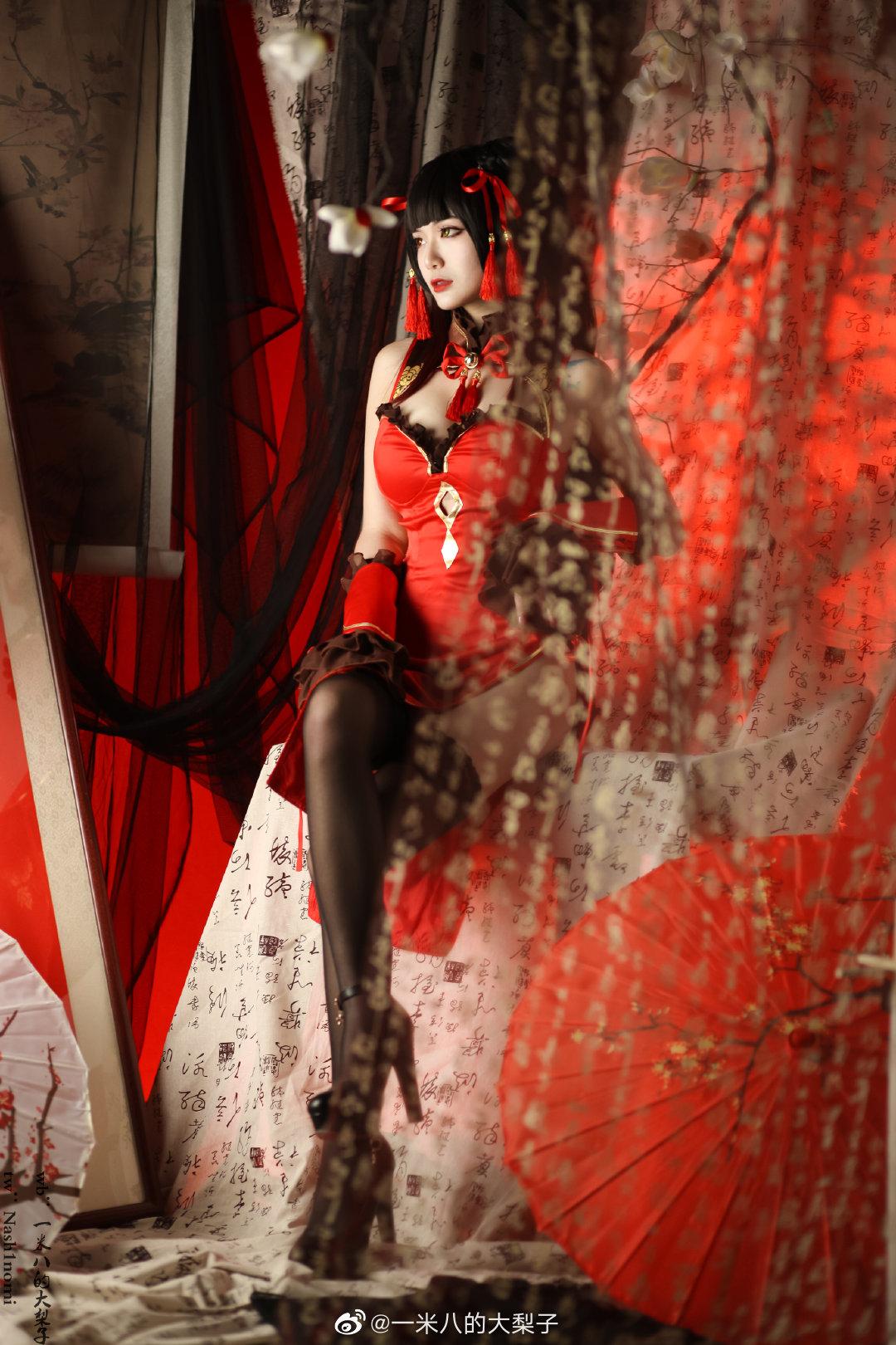 ⭐微博红人⭐一米八的大梨子@写真cos-时崎狂三新春旗袍[12P/4MB]插图1
