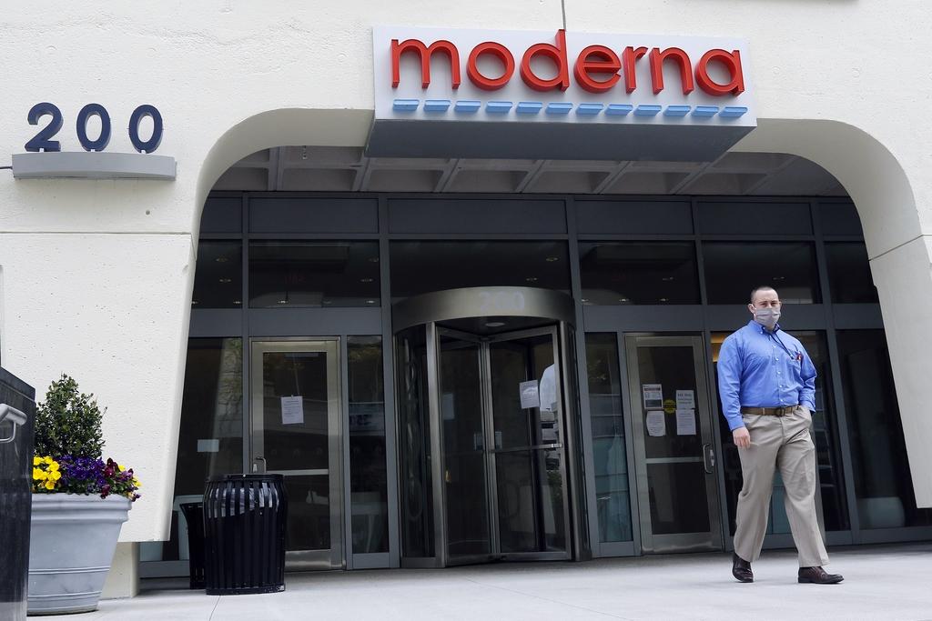 图|马萨诸塞州剑桥市 Moderna 公司大楼的入口。(来源:美联社)