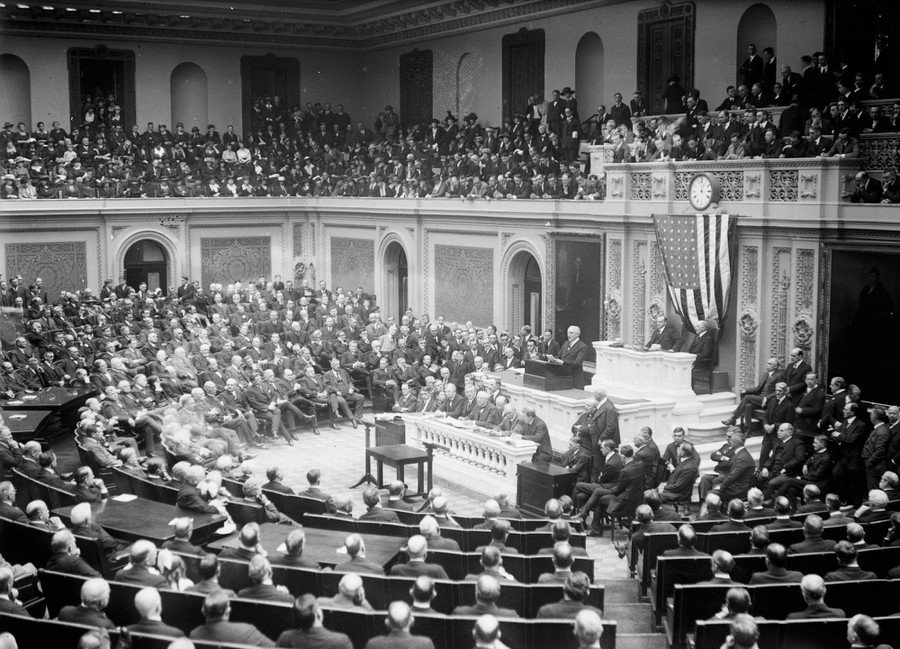 President Harding addressed the U.S. Congress in April of 1921.