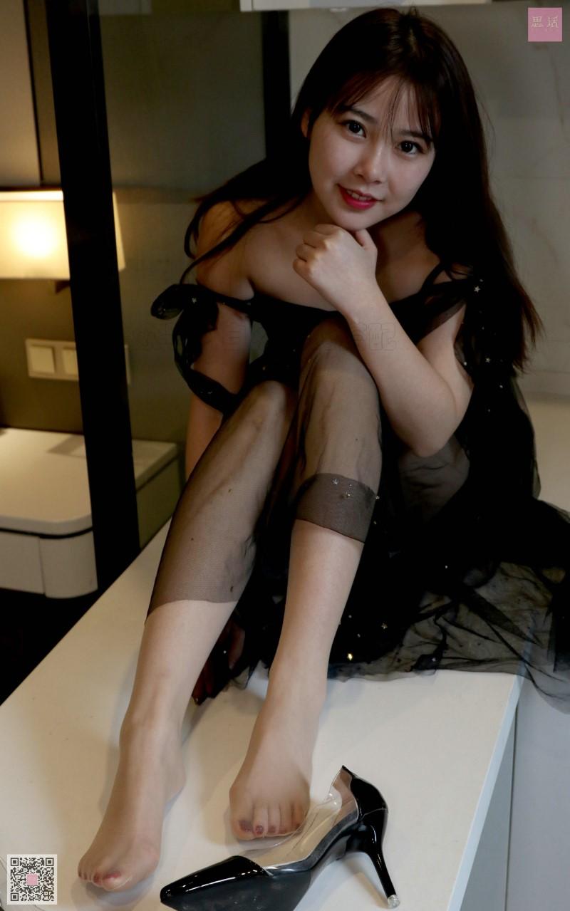 ⭐丝模写真⭐SiHua思话-苏羽SH094仙仙的黑色网纱连衣裙[75P/75MB]插图