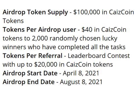 Caizcoin空投,简单完成电报社交任务,有机会获得40美元的CAIZ空投,前50名推荐者将获得价值1500美元的CAIZ代币!