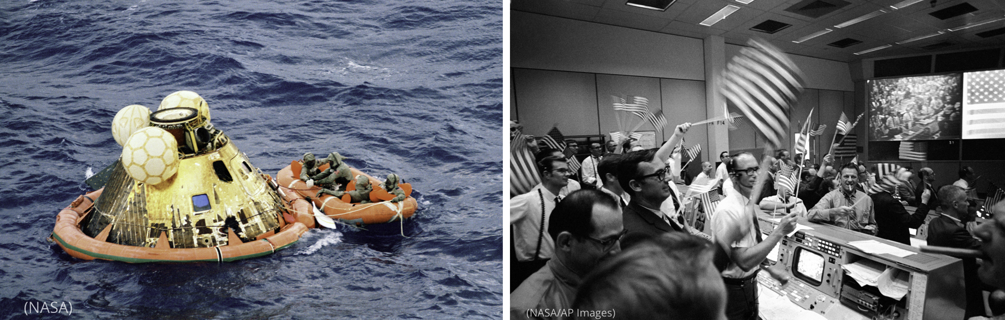 Photo of lunar module floating in ocean (NASA) next to photo of men in room with computers and large, elevated screen waving American flags (NASA/AP Images)