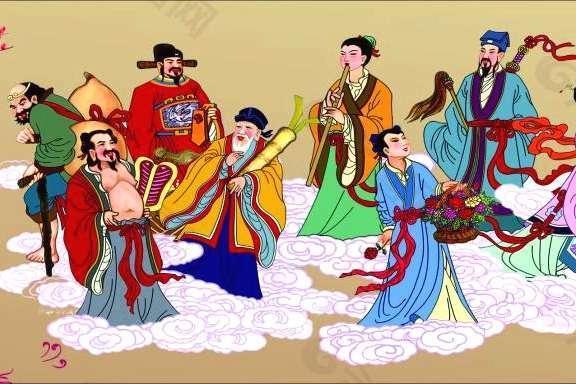 八仙过海中的四位神仙,铁拐李、张果老、钟汉离、何秀姑