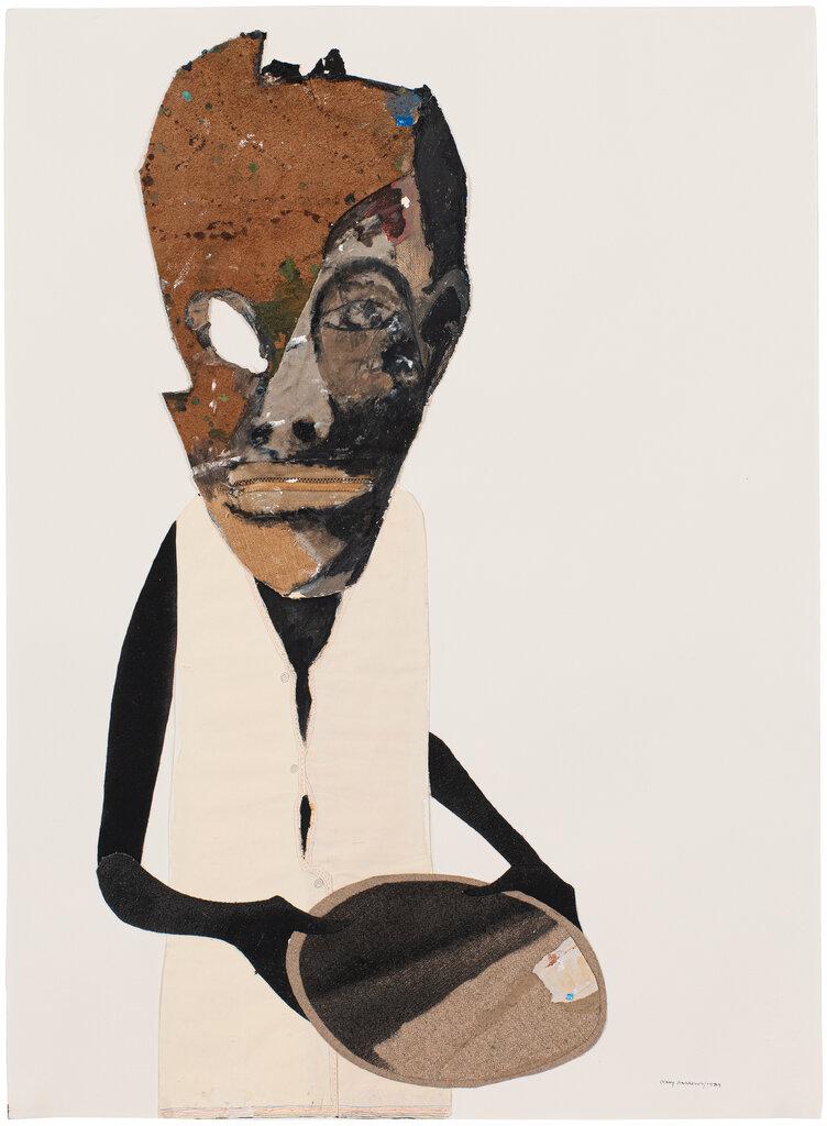 1989年的《饥饿》,画中人物的脸分裂为抽象面具和一张饱受蹂躏的面容。