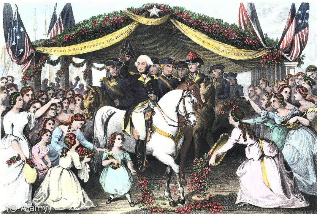 乔治·华盛顿在人群环绕下骑马的画面。 (© Alamy)
