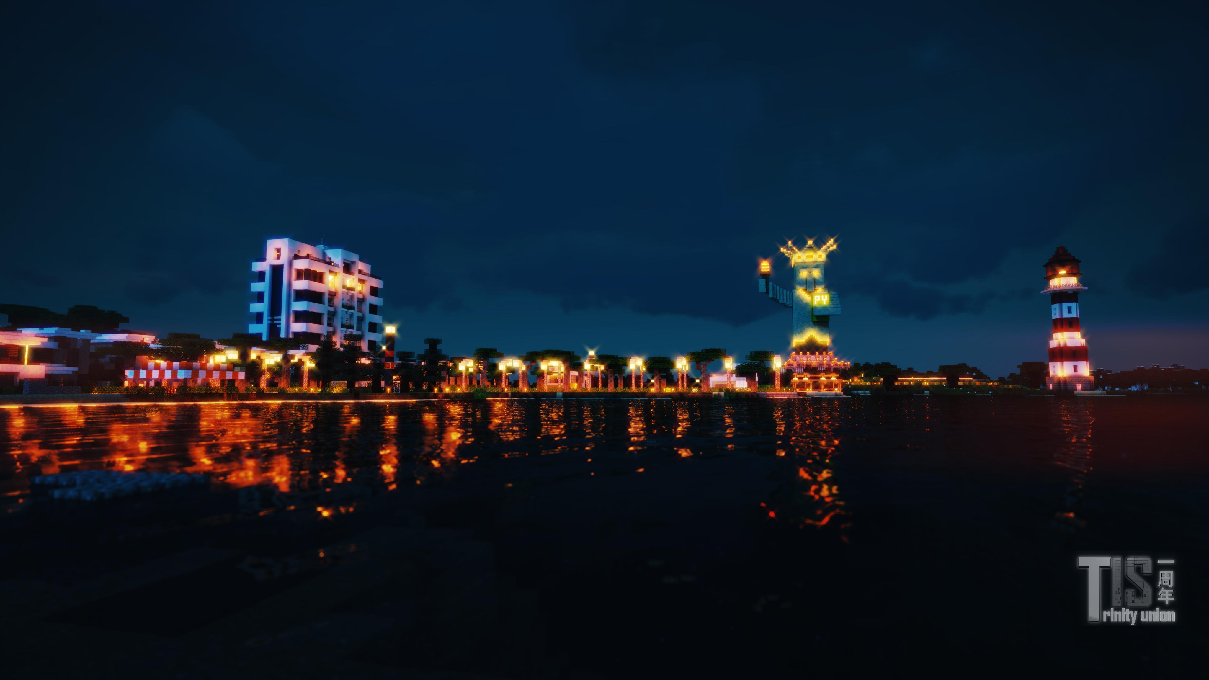 海滨小镇夜景