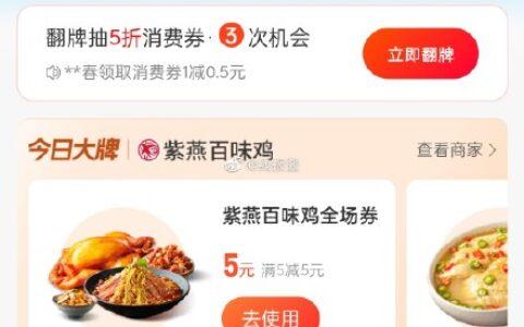支付宝–消费券–有紫燕百味鸡5元券 反馈可以买点花生