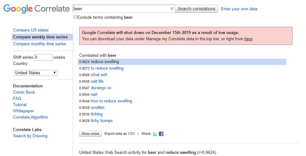 Google Correlate 中的 beer
