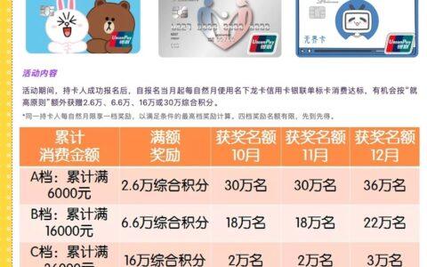 龙卡xing/用卡刷卡积分10月-12月活动最高30万综合积分