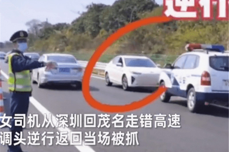 女司机高速逆行,被交警拦下后叫嚣:你不让我逆行,你养我吗?