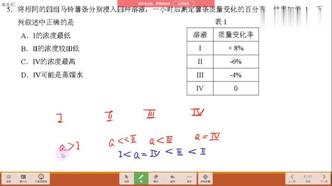上海黄浦区2020生物等级考一模解析——第5题