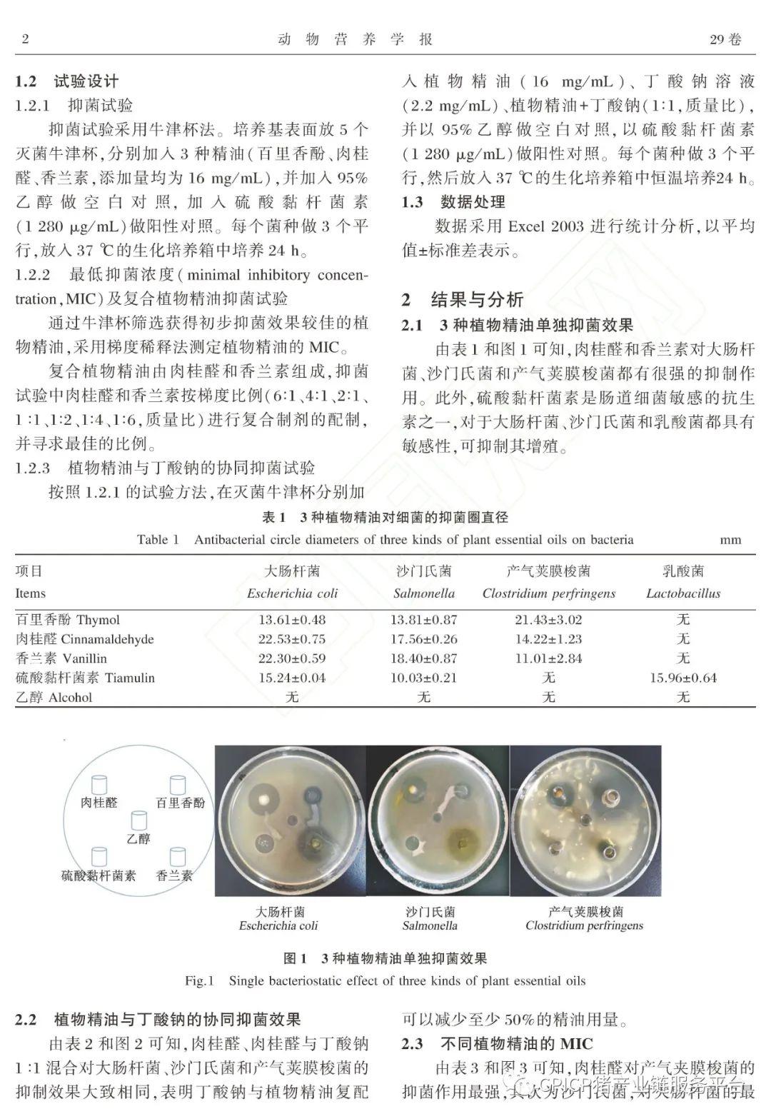 植物精油与丁酸钠的体外协同抑菌效果研究