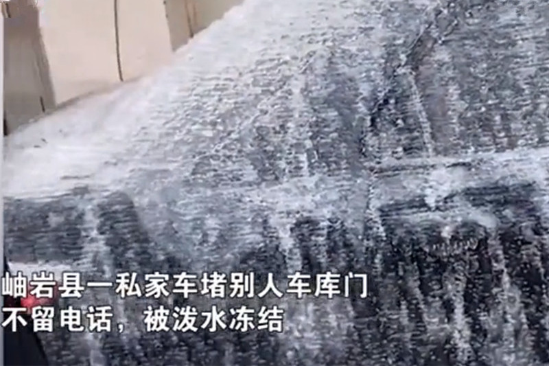辽宁私家车乱停,业主一盆水下去,汽车立马变冰雕,真是个狠人!