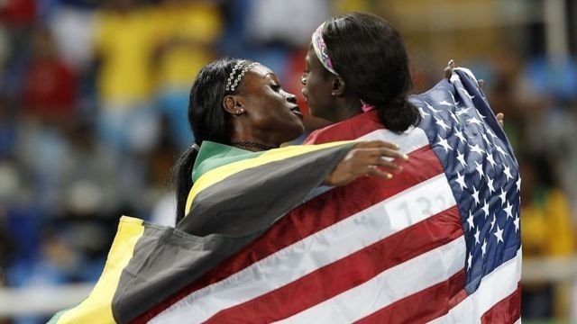 图像加注文字,100米短跑仍然是美国与牙买加的天下。