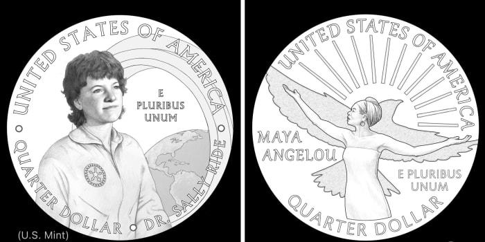 纪念宇航员萨莉·莱德(左)和诗人玛雅·安杰卢的两个美国新硬币设计图案。