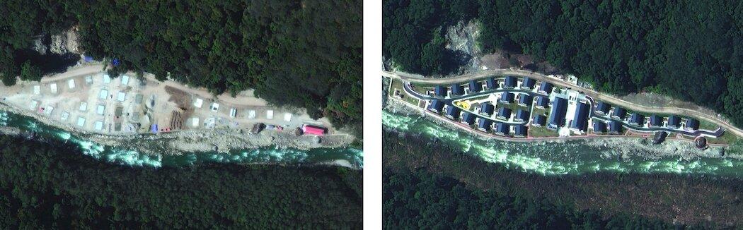 去年12月(左)和今年10月拍摄的庞达村卫星图像。