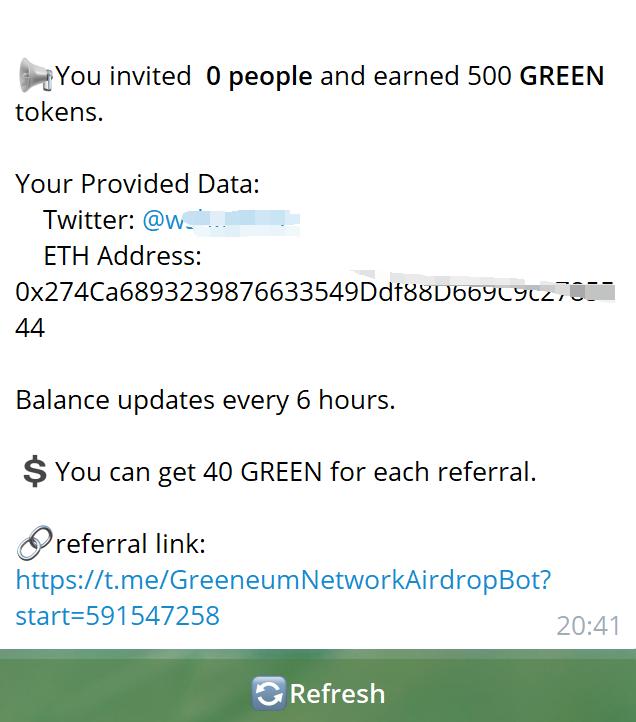 GreeneumNetwork:电报任务空投500个GREEN令牌价值5美元,推荐1人奖40个令牌