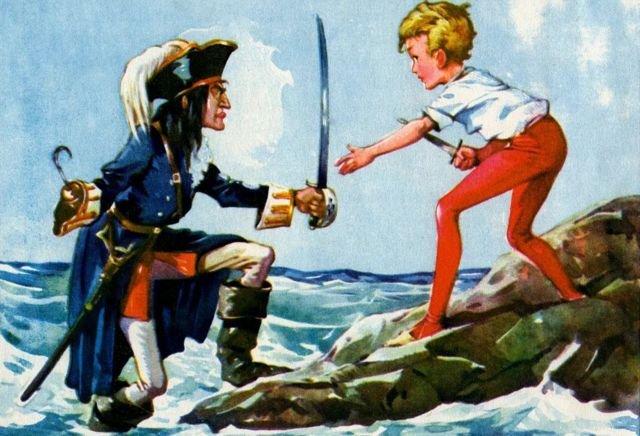 """图像加注文字,胡克船长跳进鳄鱼潭自杀时喊出伊顿校训""""愿伊顿公学繁荣""""。"""