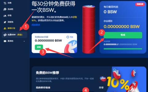 Biswap:币安智能链BSC钱包授权登录,每日领0.5BSW平台币,邀请10%奖励