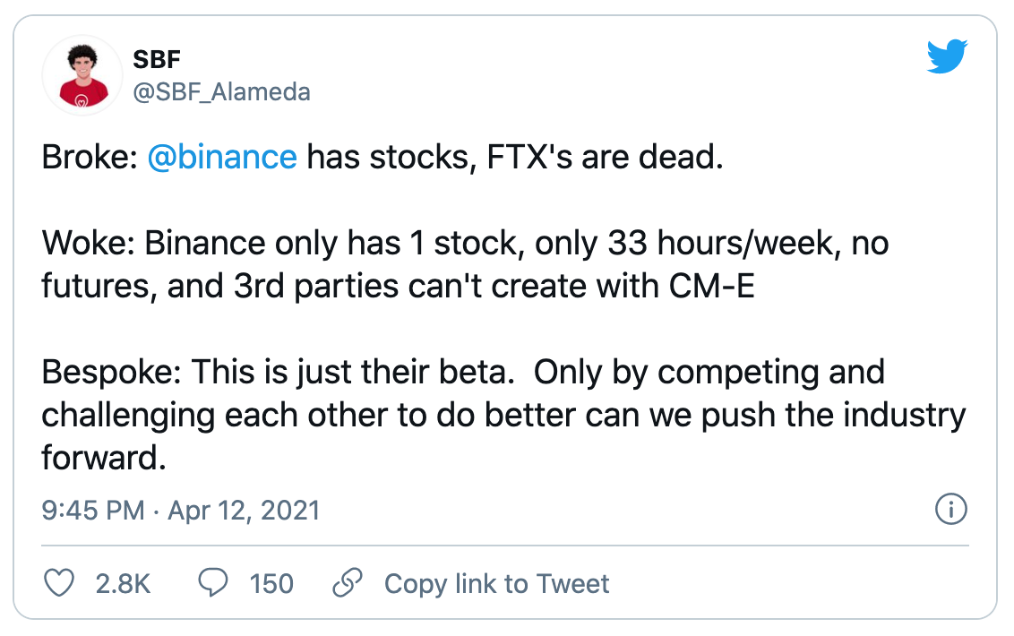 FTX与币安版股权代币有何不同?FTX创办人:他们应该还在测试版
