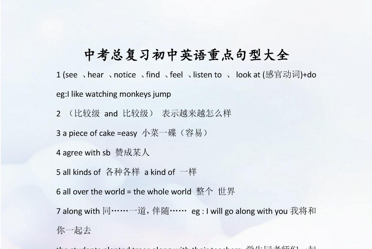 中考总复习:初中英语重点句型大全!包含高频考点,建议打印收藏