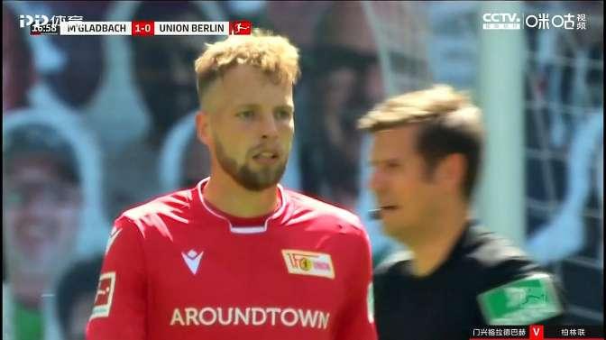诺伊豪斯左脚射门打进!门兴格拉德巴赫1-0领先柏林联!