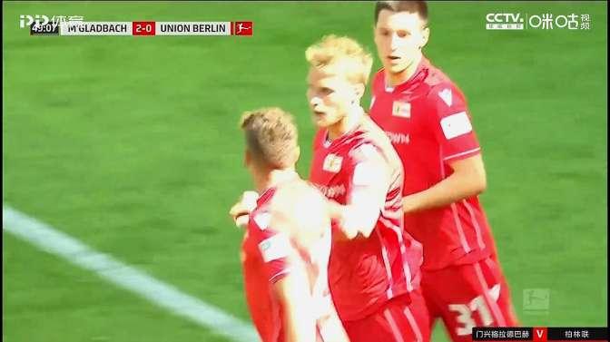 门前安德松头球破门!门兴格拉德巴赫2-1领先柏林联!