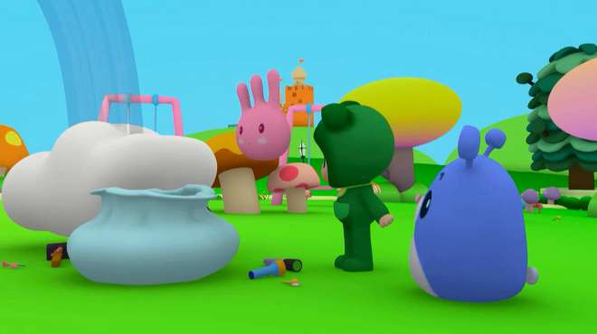 乐比悠悠:小兔子要给彩虹上色,乐比真好赶上,那就帮忙吧