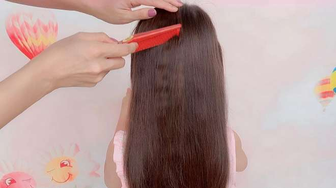 新手和手残党如何给长发小女孩扎头发?教你一招,一看就会