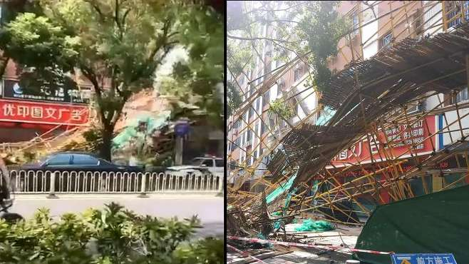 福建泉州8层楼高脚手架倒塌