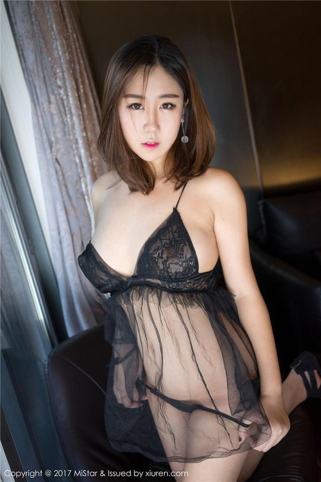 [魅妍社] 丁字裤肥臀嫩模茉莉Molly全透视薄纱睡裙写真