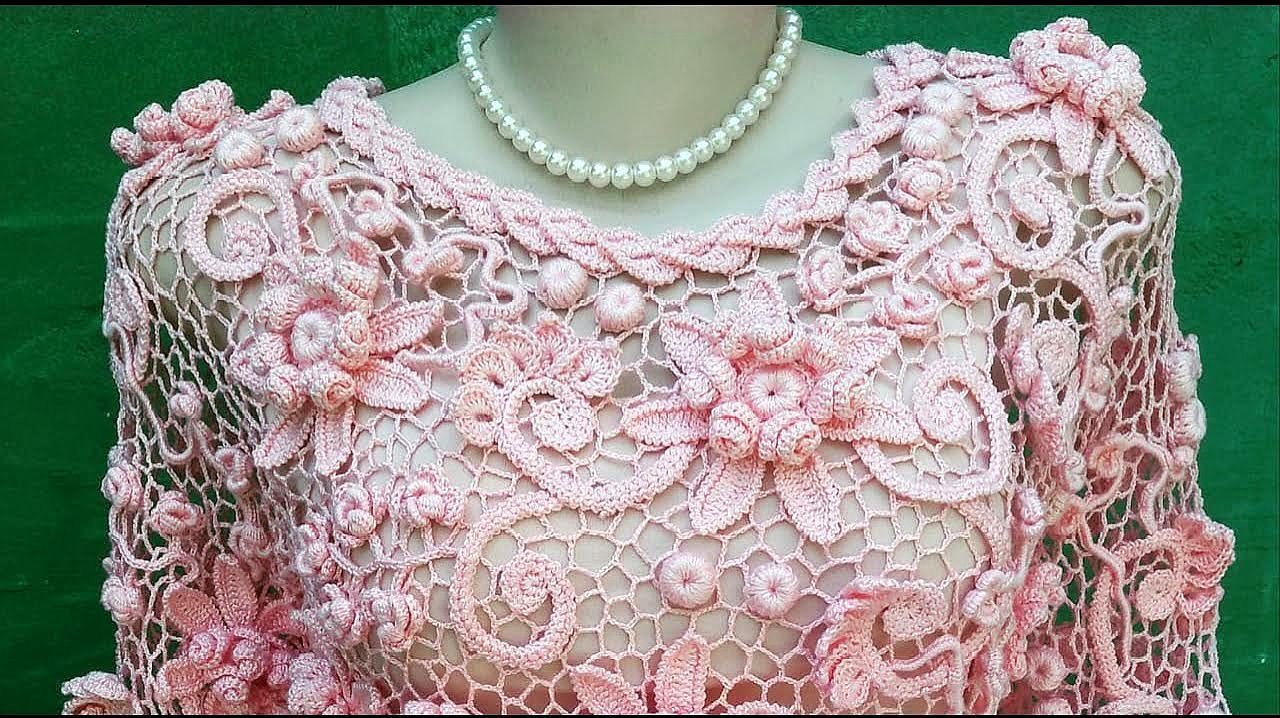 精美細膩的愛爾蘭立體鉤花,拼成衣服美極了