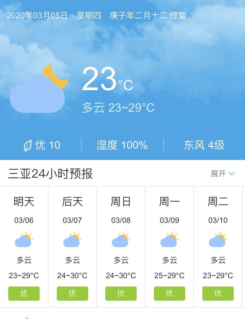 天气快讯!海南三亚明天3月6日起未来五天天气预报