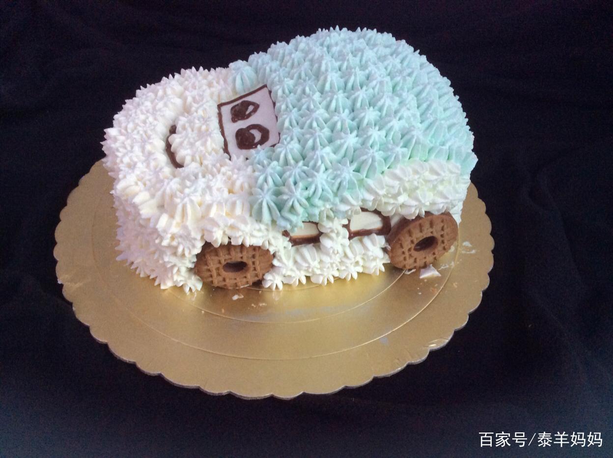这个汽车造型的生日蛋糕自己也能做,一点也不输外面卖的!