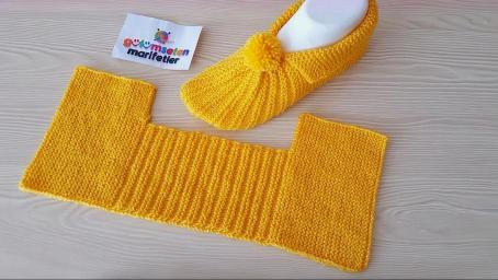 棒針編織輕便舒適的一片式家居鞋,簡單易織,幾分鐘就能搞定!